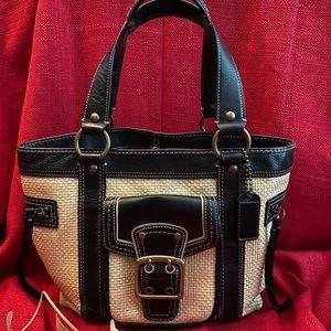COACH straw satchel handbag